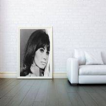 Donna Loren, American Singer and Actress, Decorative Arts, Prints & Posters, Wall Art Print, Poster Any Size - Black and White Poster